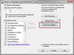 Adaptive Degradation And Performance Tuning dialog