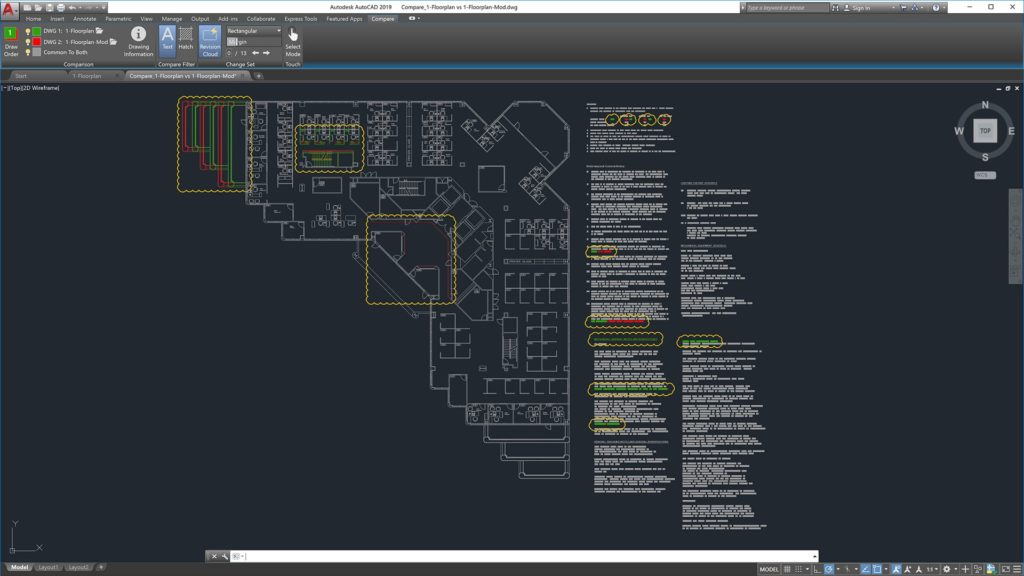 AutoCAD 2019 Drawing Compare with Revision Clouds