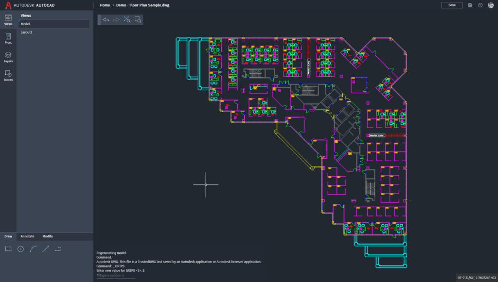 AutoCAD Web with Sample Floor Plan